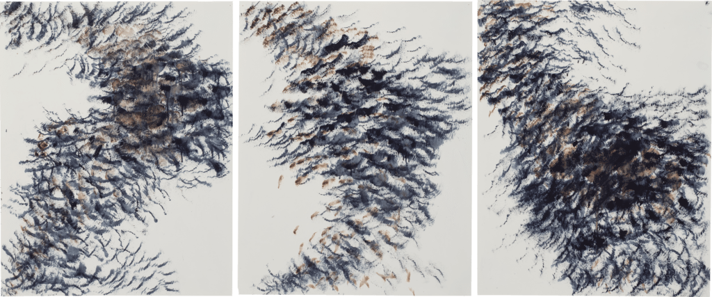 Crows in Flight triptych