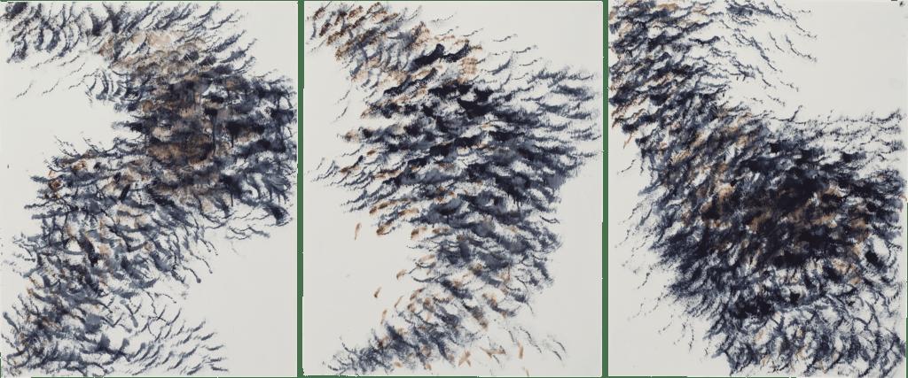 Crows in Flight triptych