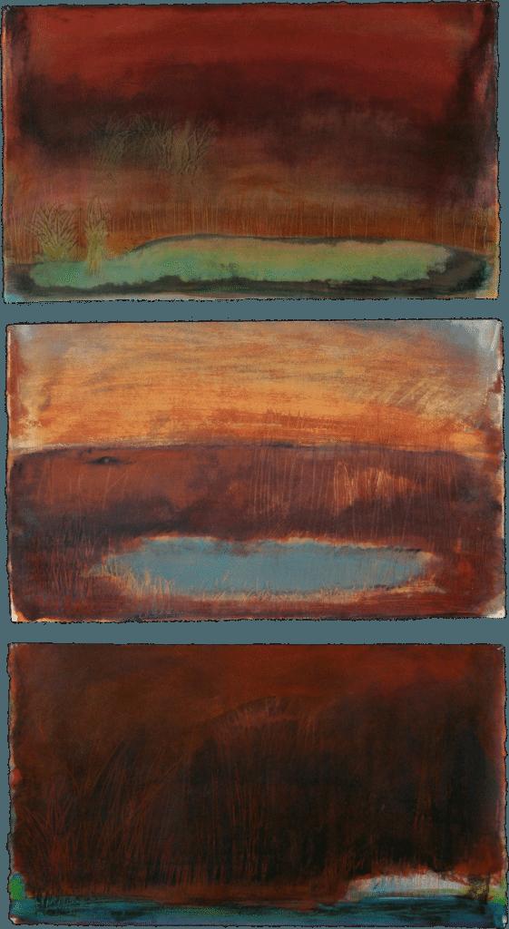 Sundown with Pond triptych