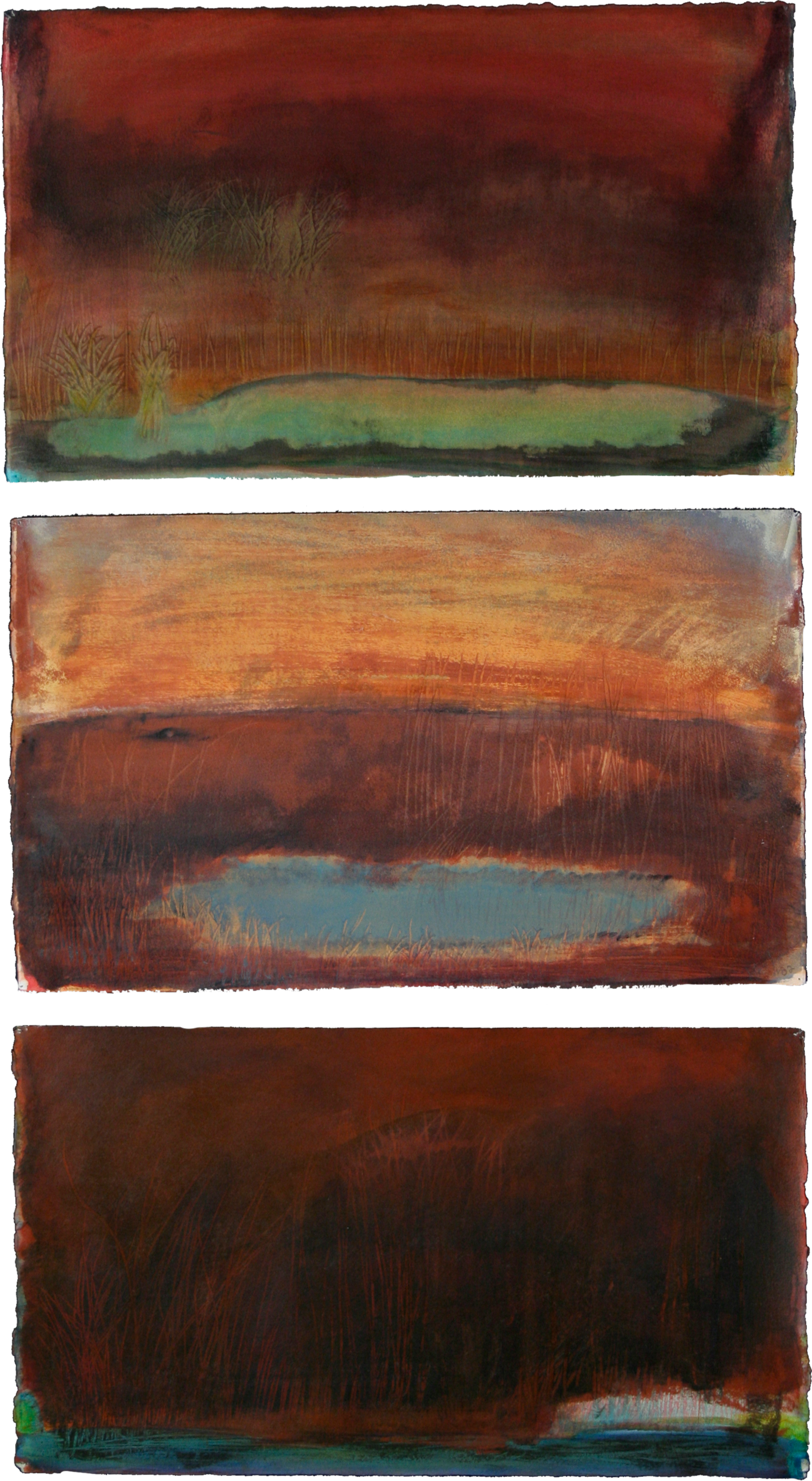 Sundown with Pond triptych