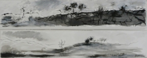 Trees in Landscape, diptych